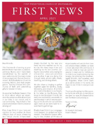 April 2021 Newsletter Cover