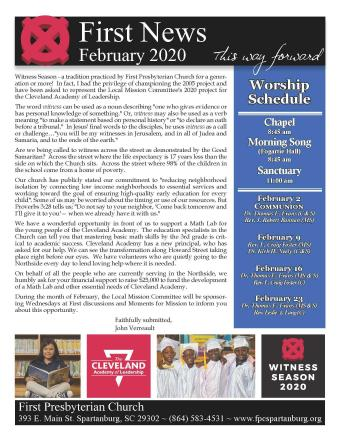 February 2020 Newsletter Cover