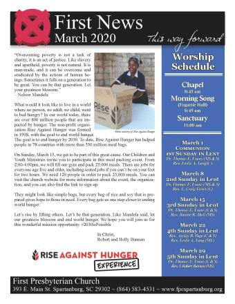 March 2020 Newsletter Cover