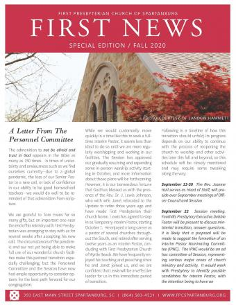 Fall 2020 Newsletter Cover
